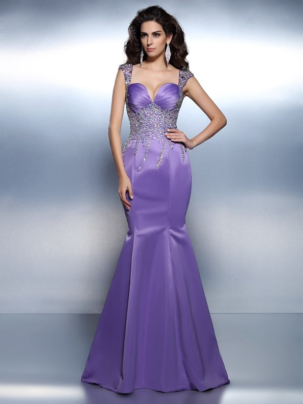 Trumpet/Mermaid Sweetheart,Straps Satin Sleeveless Sweep/Brush Train Dresses