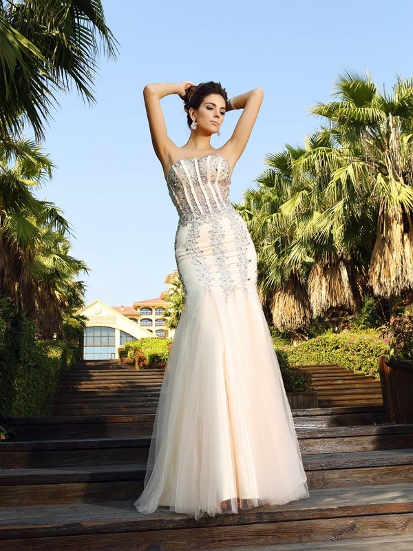 Trumpet/Mermaid Strapless Satin Sleeveless Floor-Length Dresses