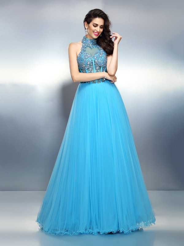 A-Line/Princess High Neck Satin Sleeveless Floor-Length Evening Dresses