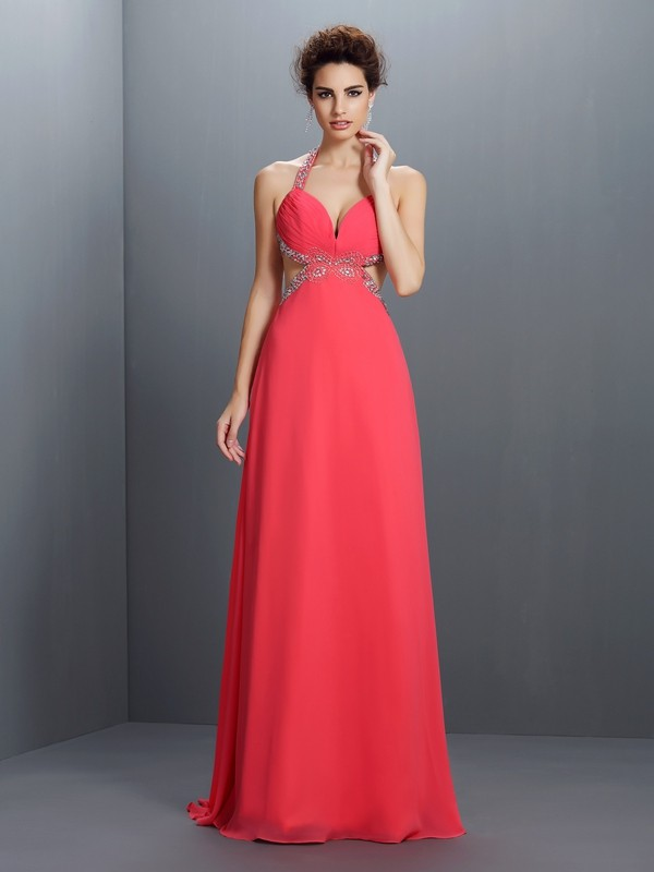 A-Line/Princess Halter Chiffon Sleeveless Sweep/Brush Train Prom Dresses