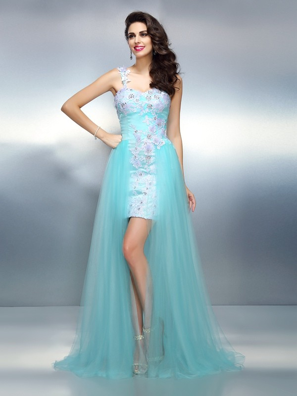 Sheath/Column One-Shoulder Elastic Woven Satin Sleeveless Sweep/Brush Train Prom Dresses