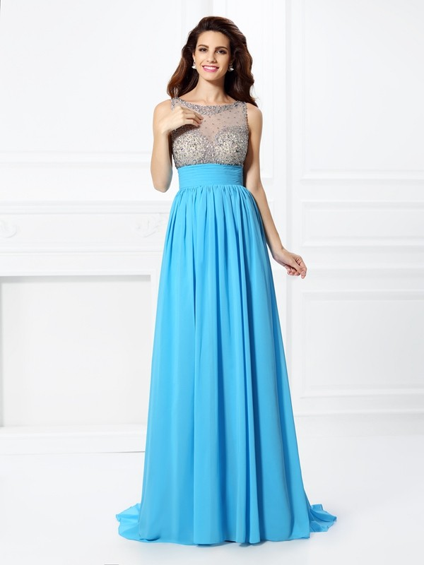 A-Line/Princess Bateau Chiffon Sleeveless Sweep/Brush Train Prom Dresses