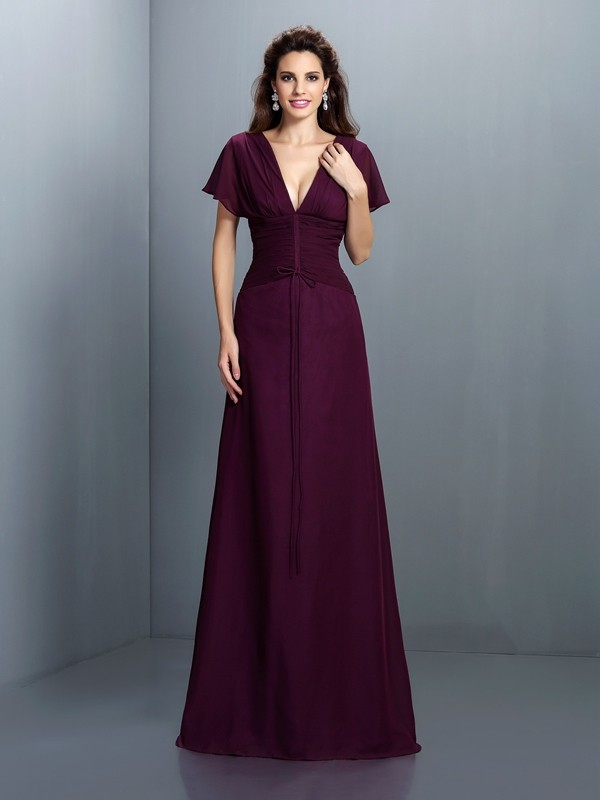 A-Line/Princess V-neck Chiffon Short Sleeves Floor-Length Evening Dresses
