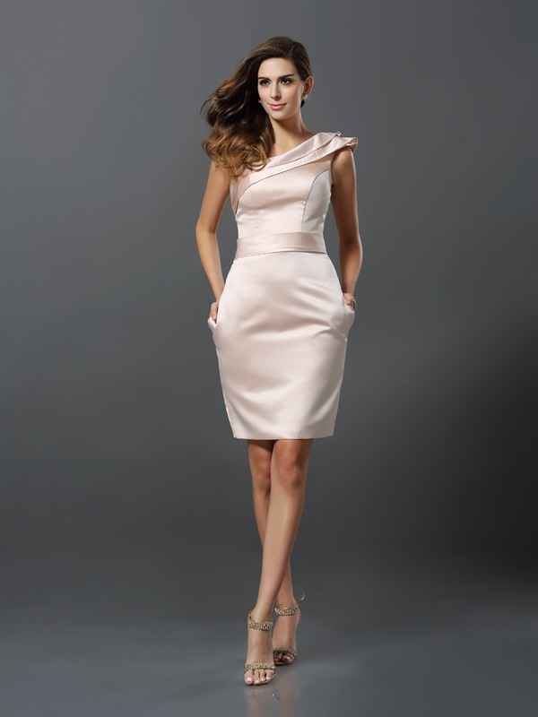 Sheath/Column One-Shoulder Satin Sleeveless Knee-Length Dresses
