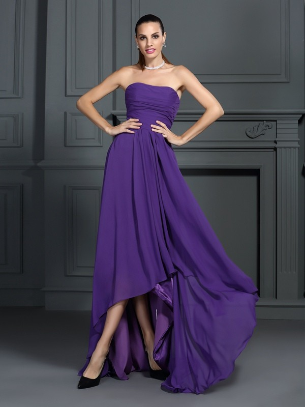 A-Line/Princess Strapless Chiffon Sleeveless Asymmetrical Dresses