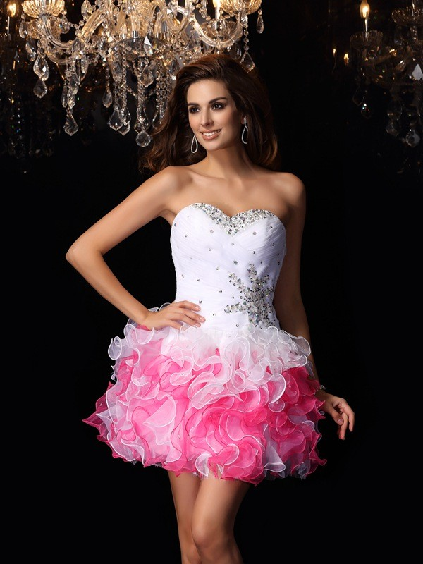 A-Line/Princess Sweetheart Organza Sleeveless Short/Mini Dresses