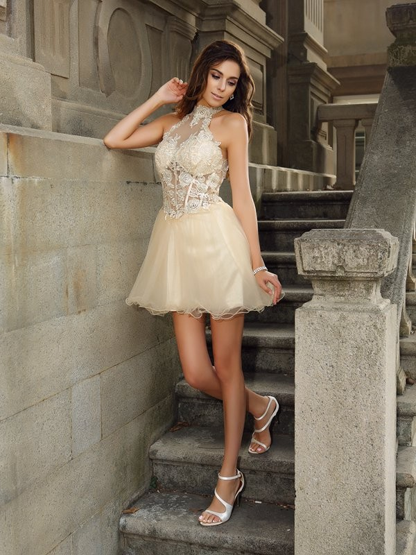 A-Line/Princess High Neck Tulle Sleeveless Short/Mini Dresses