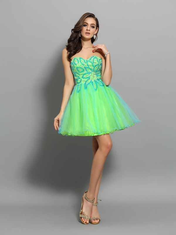 A-Line/Princess Sweetheart Net Sleeveless Short/Mini Dresses