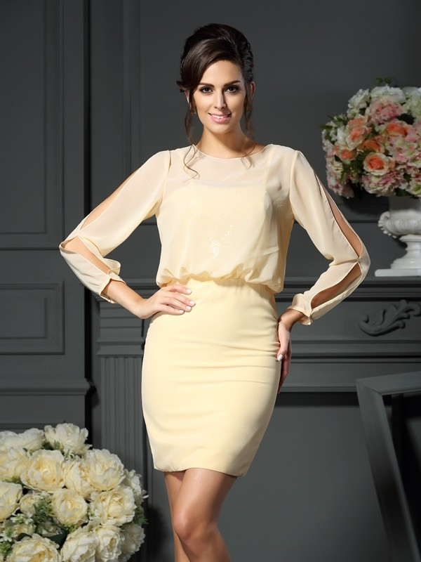 Sheath/Column Scoop Chiffon Long Sleeves Short/Mini Mother of the Bride Dresses