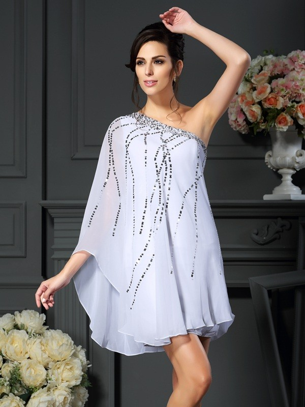 A-Line/Princess One-Shoulder Chiffon Sleeveless Short/Mini Mother of the Bride Dresses