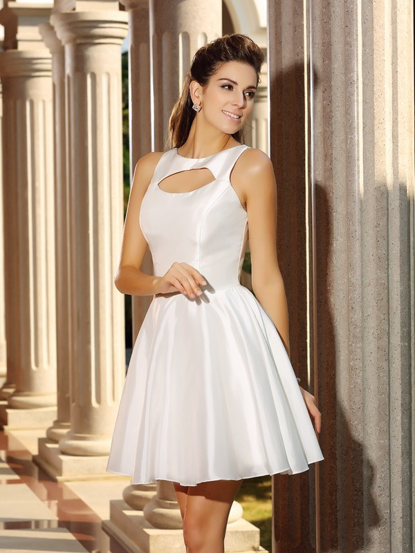 A-Line/Princess High Neck Satin Sleeveless Short/Mini Dresses