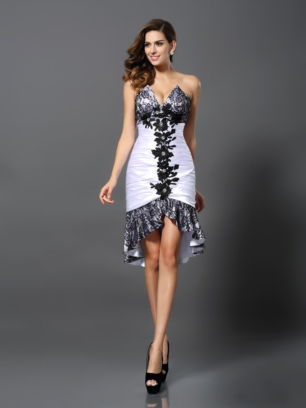 Sheath/Column Sweetheart Elastic Woven Satin Sleeveless Asymmetrical Dresses
