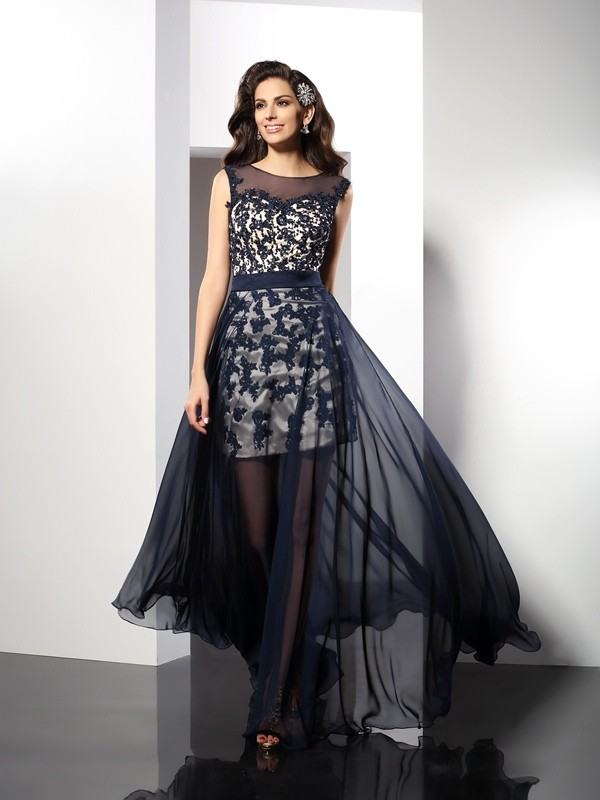 A-Line/Princess Scoop Elastic Woven Satin Sleeveless Floor-Length Dresses