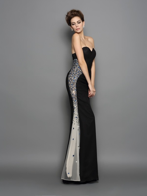Trumpet/Mermaid Sweetheart Chiffon Sleeveless Floor-Length Evening Dresses