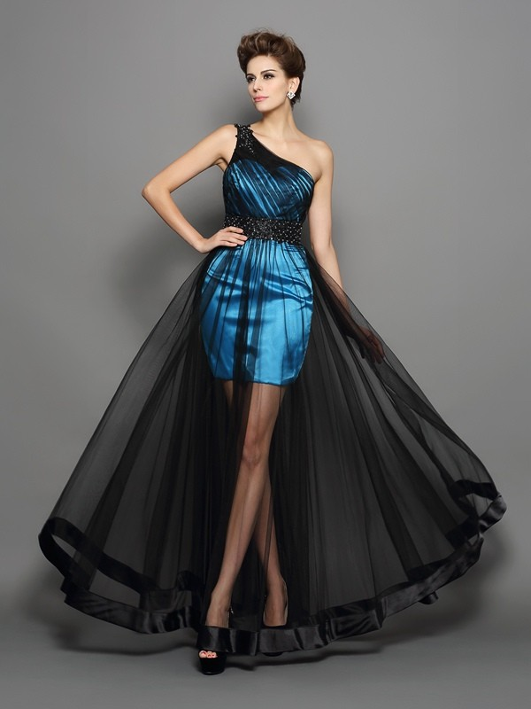 A-Line/Princess One-Shoulder Elastic Woven Satin Sleeveless Floor-Length Prom Dresses
