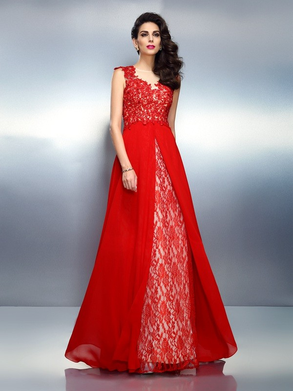 A-Line/Princess Bateau Net Sleeveless Sweep/Brush Train Dresses