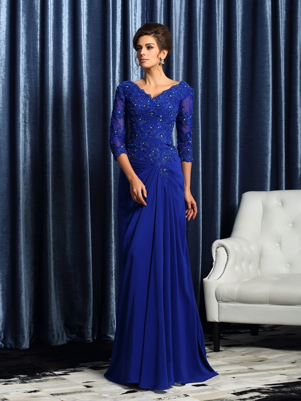 A-Line/Princess V-neck Chiffon 3/4 Sleeves Sweep/Brush Train Mother of the Bride Dresses