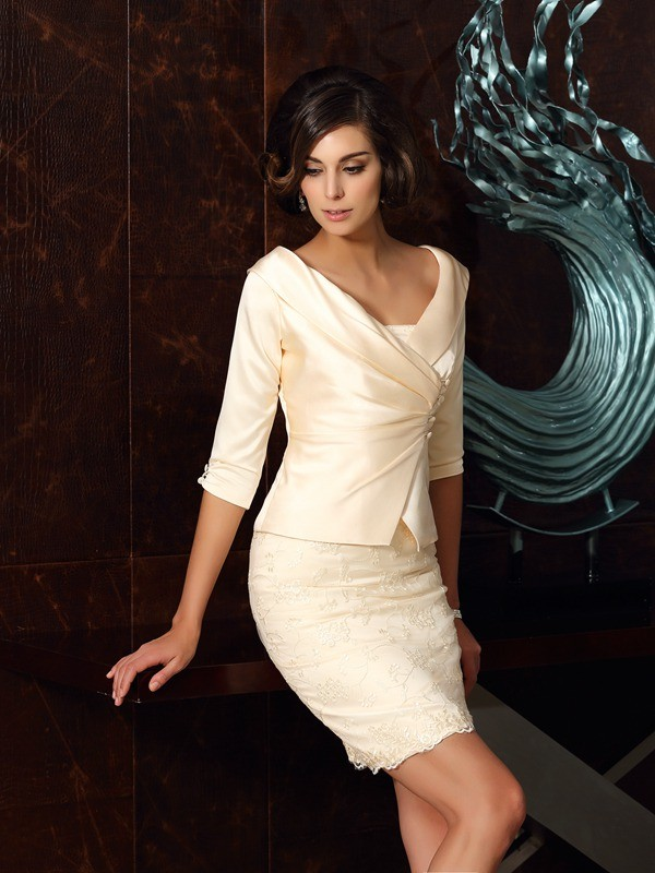 Sheath/Column Strapless Satin Sleeveless Short/Mini Mother of the Bride Dresses
