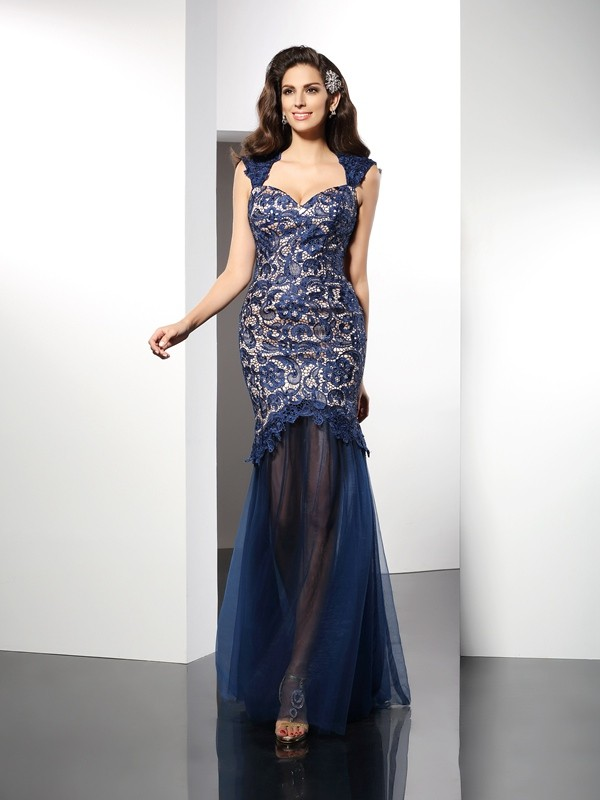 Trumpet/Mermaid Sweetheart Net Sleeveless Sweep/Brush Train Dresses