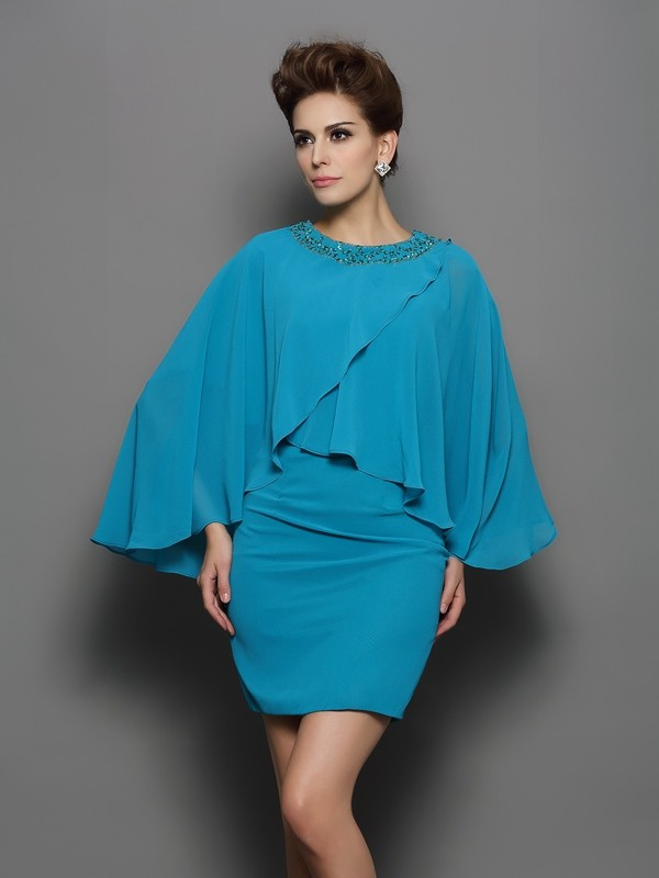 Sheath/Column Scoop Silk like Satin Long Sleeves Short/Mini Mother of the Bride Dresses