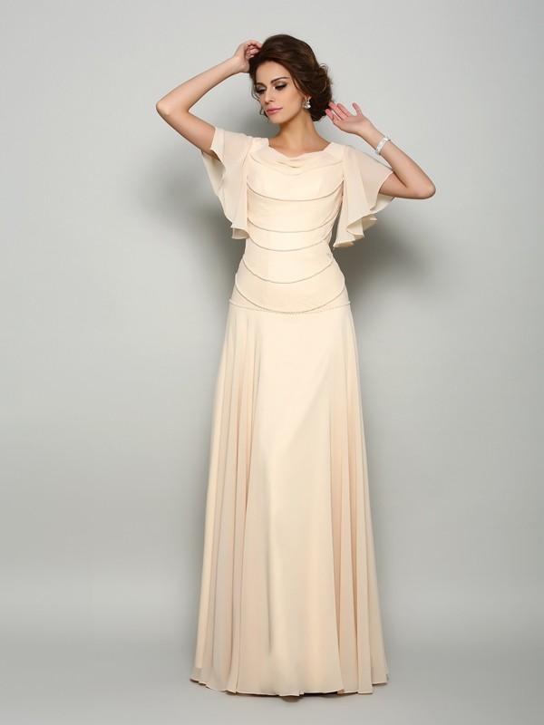 A-Line/Princess Square Chiffon Short Sleeves Floor-Length Mother of the Bride Dresses