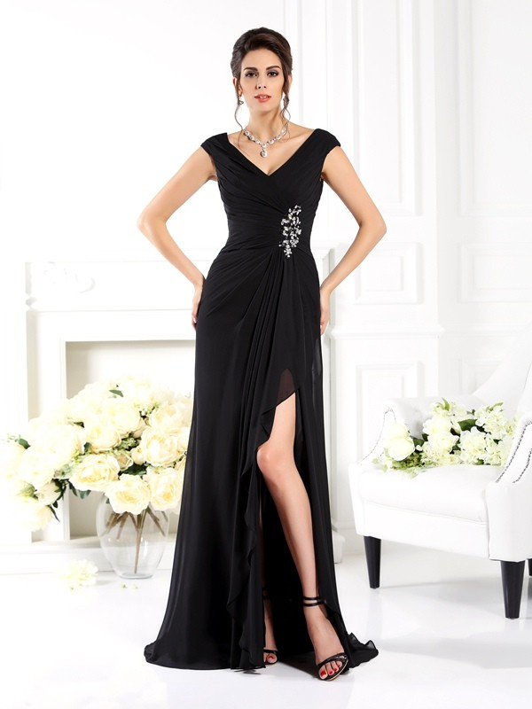 A-Line/Princess V-neck Chiffon Sleeveless Sweep/Brush Train Mother of the Bride Dresses
