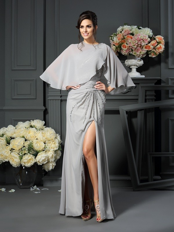 Trumpet/Mermaid One-Shoulder Chiffon Sleeveless Floor-Length Mother of the Bride Dresses