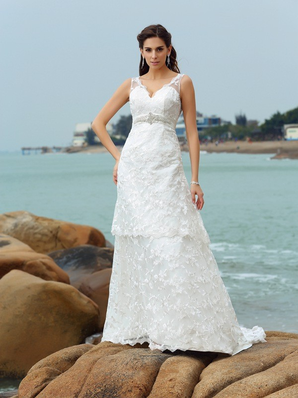 A-Line/Princess Straps Satin Sleeveless Chapel Train Wedding Dresses
