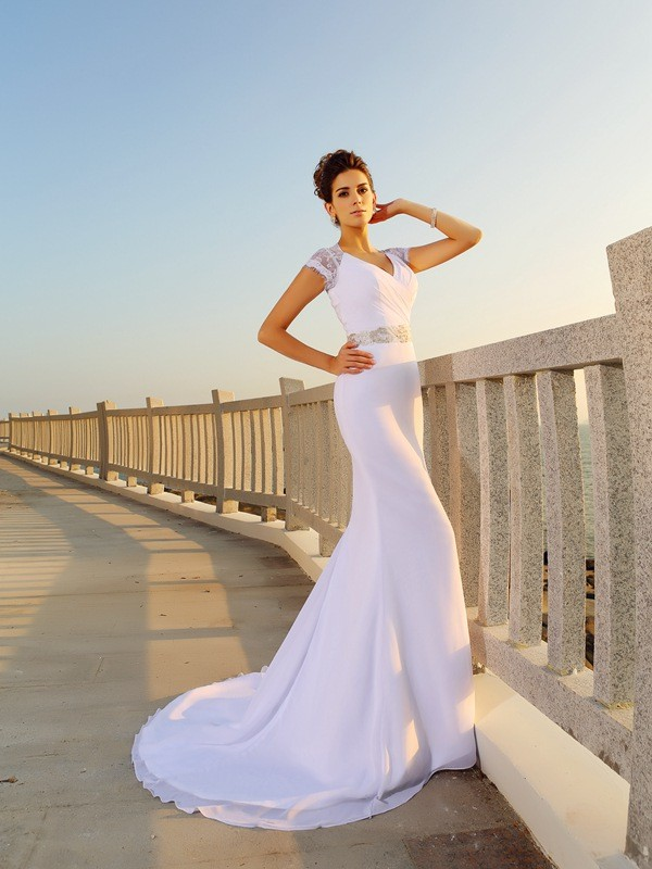 Sheath/Column V-neck Chiffon Sleeveless Court Train Wedding Dresses