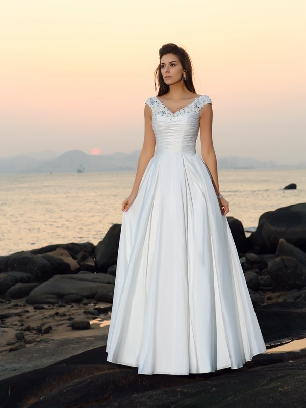 A-Line/Princess V-neck Taffeta Sleeveless Floor-Length Wedding Dresses