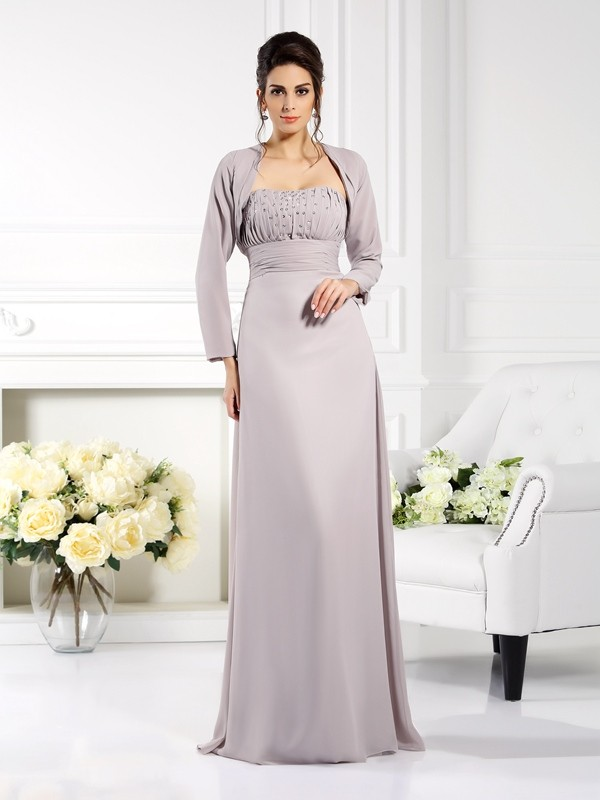A-Line/Princess Strapless Chiffon Sleeveless Floor-Length Mother of the Bride Dresses