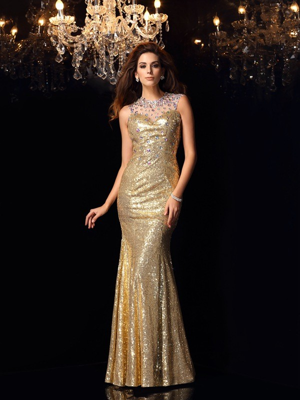 Trumpet/Mermaid High Neck Sequins Sleeveless Floor-Length Dresses