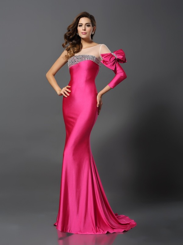 Trumpet/Mermaid Bateau Spandex Long Sleeves Sweep/Brush Train Evening Dresses