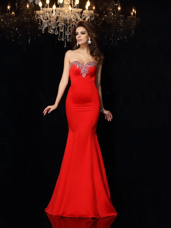 Sheath/Column Sweetheart Satin Sleeveless Court Train Dresses