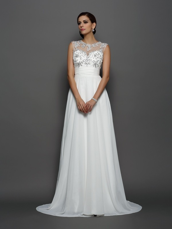 A-Line/Princess Bateau Chiffon Sleeveless Court Train Dresses
