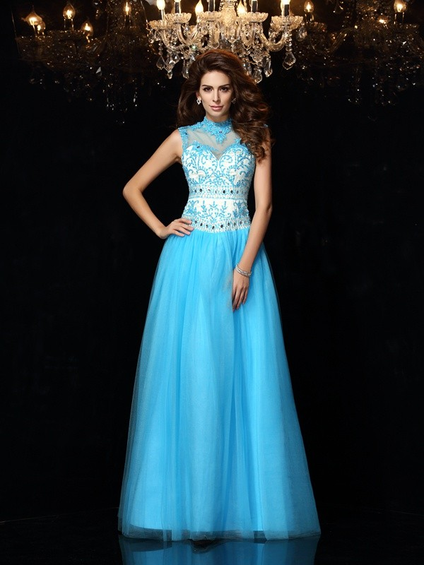 A-Line/Princess High Neck Satin Sleeveless Floor-Length Dresses