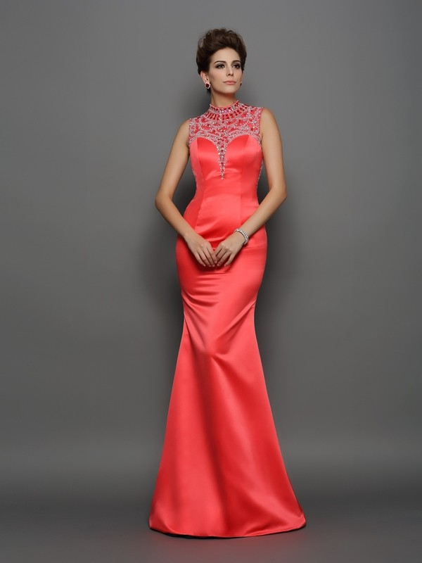 Trumpet/Mermaid High Neck Satin Sleeveless Sweep/Brush Train Evening Dresses