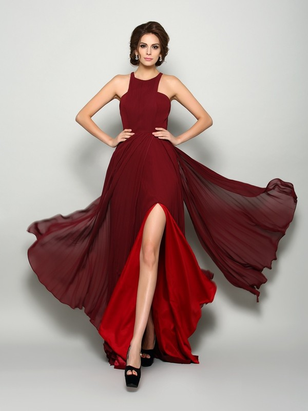 A-Line/Princess High Neck Chiffon Sleeveless Sweep/Brush Train Mother of the Bride Dresses