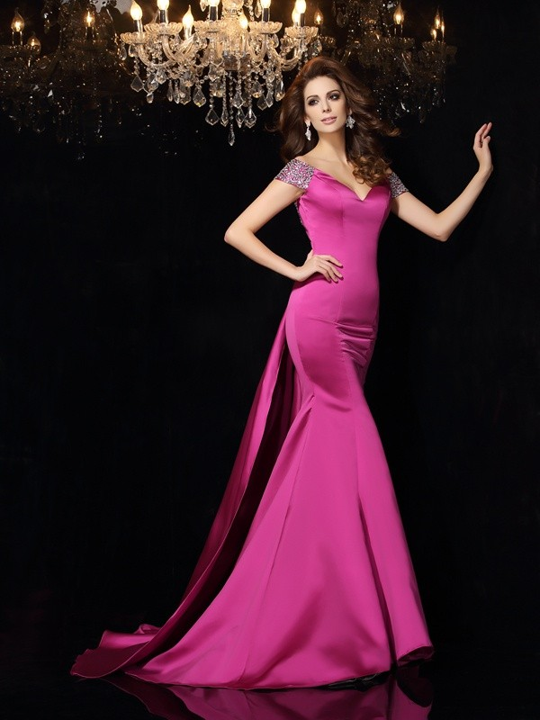 Trumpet/Mermaid Off-the-Shoulder Satin Sleeveless Court Train Dresses