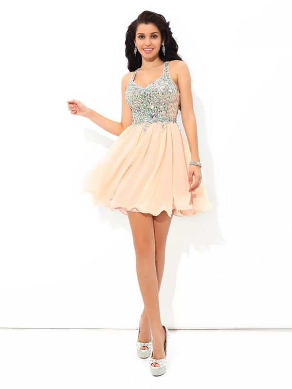A-Line/Princess Straps Chiffon Sleeveless Short/Mini Cocktail Dresses