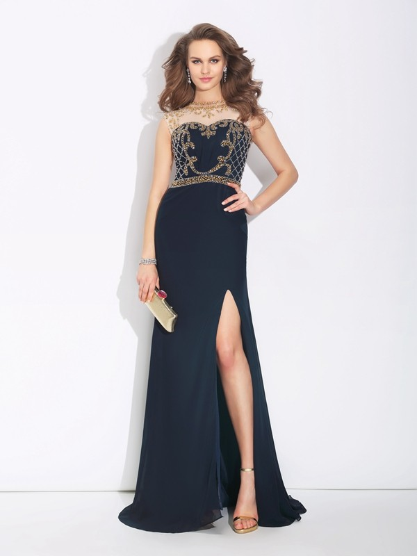 A-Line/Princess Jewel Chiffon Sleeveless Sweep/Brush Train Evening Dresses