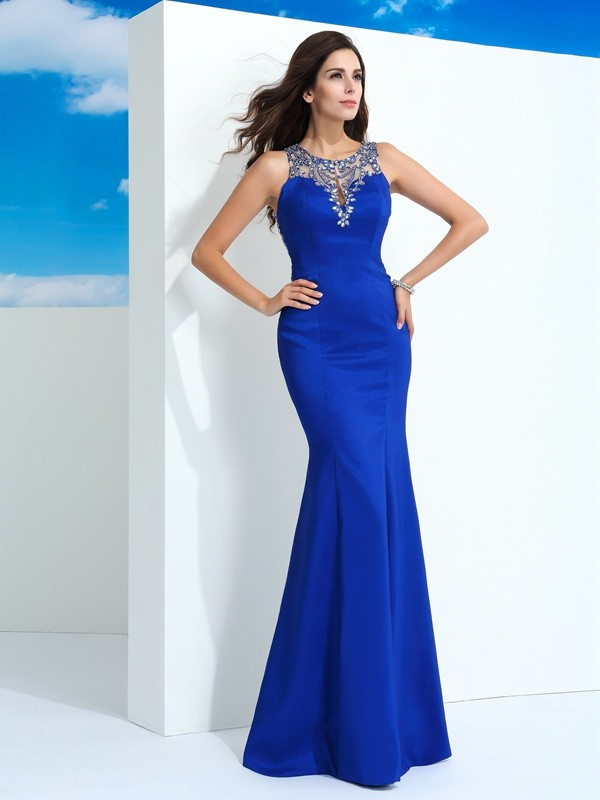 Sheath/Column Sheer Neck Chiffon Sleeveless Floor-Length Evening Dresses