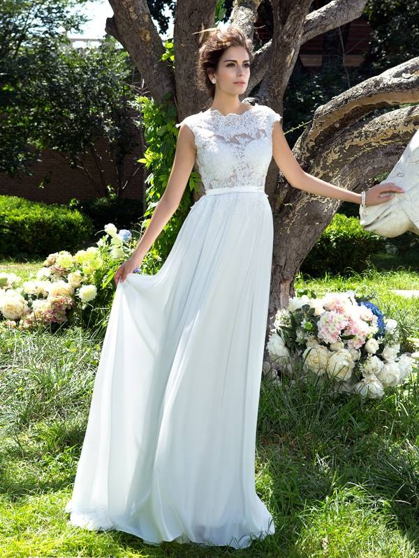 A-Line/Princess Scoop Chiffon Sleeveless Sweep/Brush Train Evening Dresses