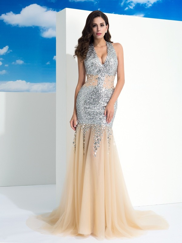 Sheath/Column Halter Net Sleeveless Sweep/Brush Train Evening Dresses