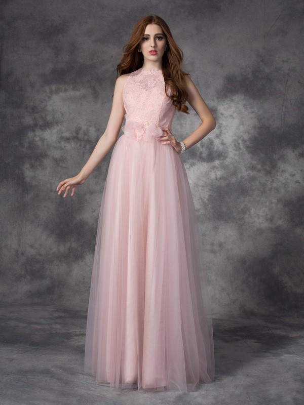 A-line/Princess Bateau Net Sleeveless Floor-Length Evening Dresses