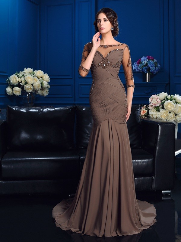 Sheath/Column Scoop Chiffon 3/4 Sleeves Court Train Mother of the Bride Dresses