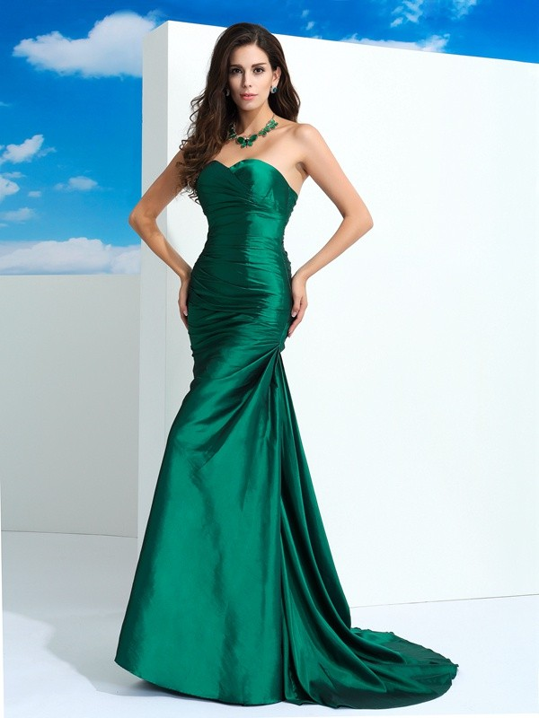 Sheath/Column Sweetheart Taffeta Sleeveless Sweep/Brush Train Evening Dresses
