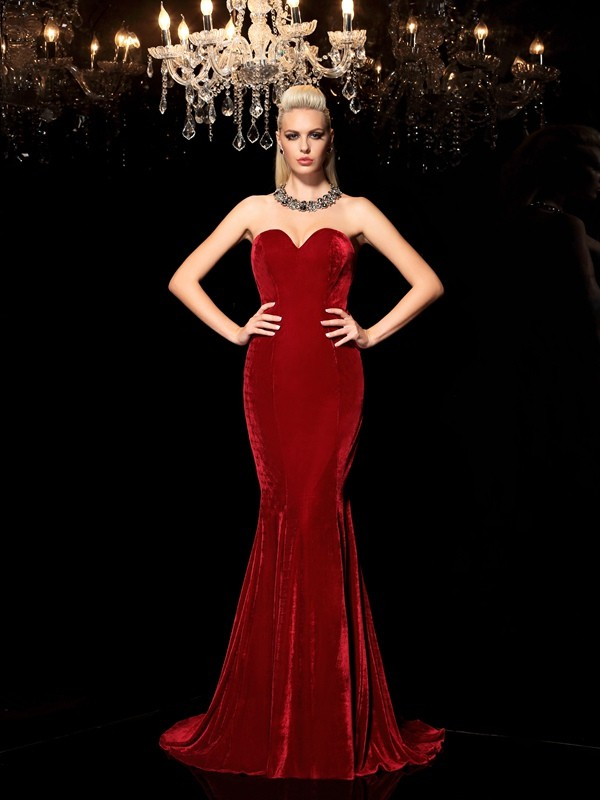 Sheath/Column Sweetheart Velvet Sleeveless Sweep/Brush Train Evening Dresses