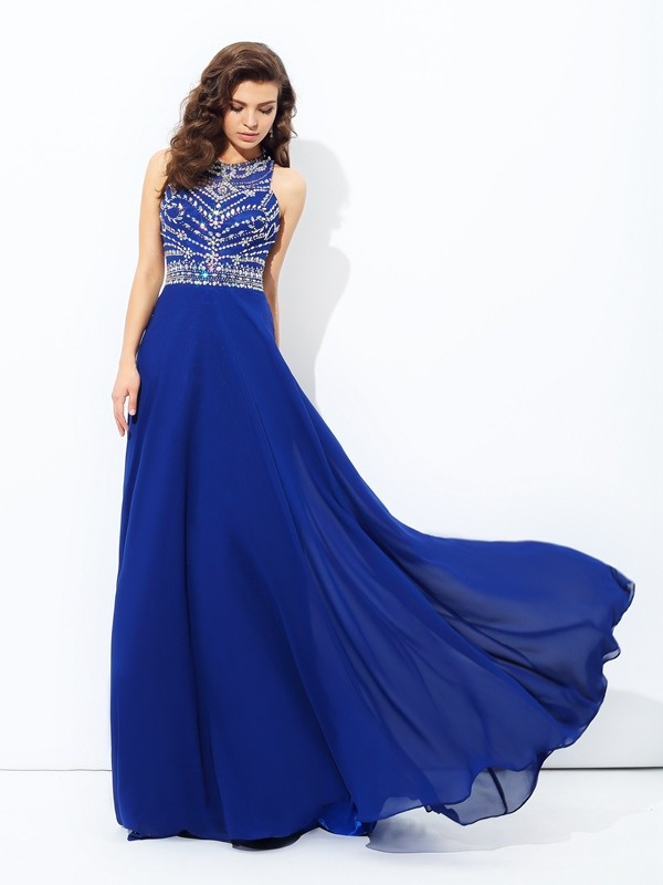 A-line/Princess Scoop Chiffon Sleeveless Floor-length Prom Dresses