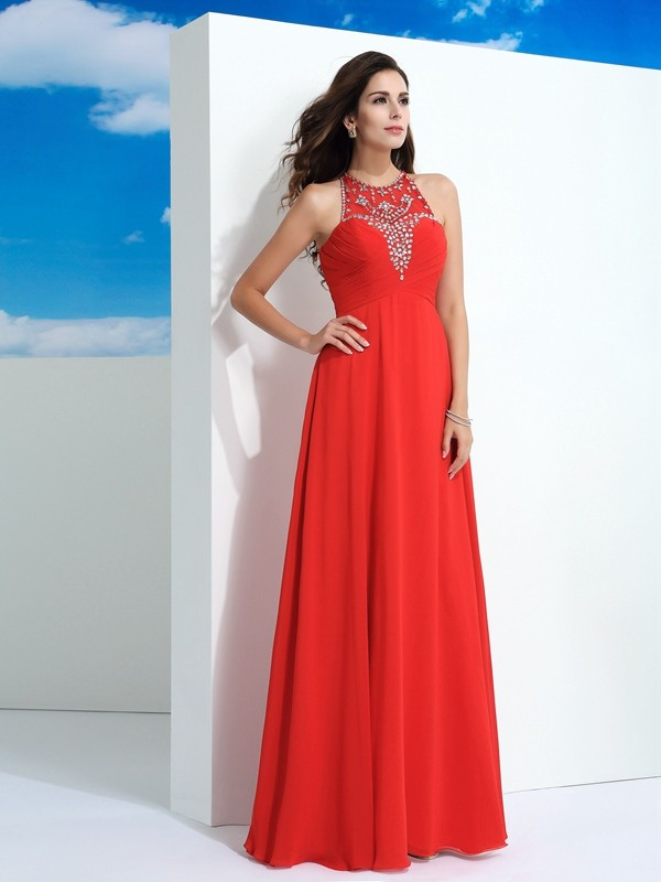 A-Line/Princess Sheer Neck Chiffon Sleeveless Floor-Length Prom Dresses